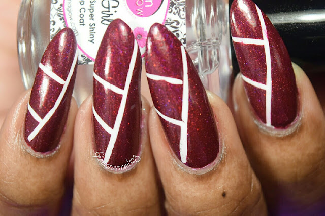 Red & White Tape Nail Art