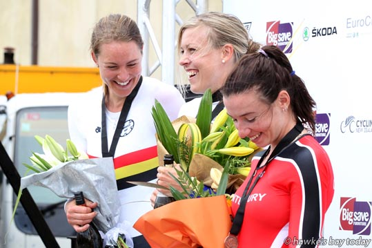 L-R: Jaime Nielsen, Waikato Bay of Plenty, second, Rushlee Buchanan, Waikato Bay of Plenty, winner, Sharlotte Lucas, Canterbury, third, in the elite female time trial - Elite Road National Championships, part of the Summer Cycling Carnival in Napier. photograph