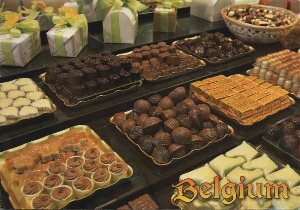 Belgian choclates displayed