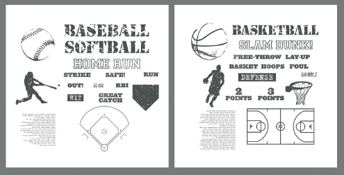 Stampin' Up! Baseball & Basketball themed digital downloads