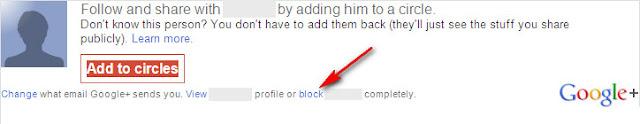 Google+: E-mail block