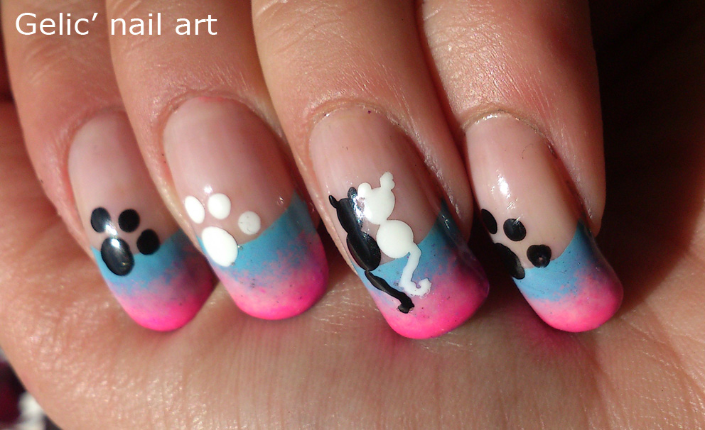 Gelic Nail Art Cats In Love Funky French Nail Art