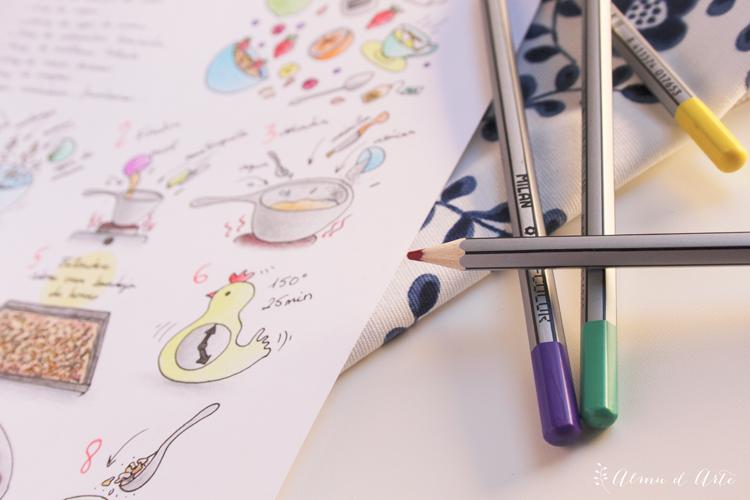 receta ilustrada dibujada a mano