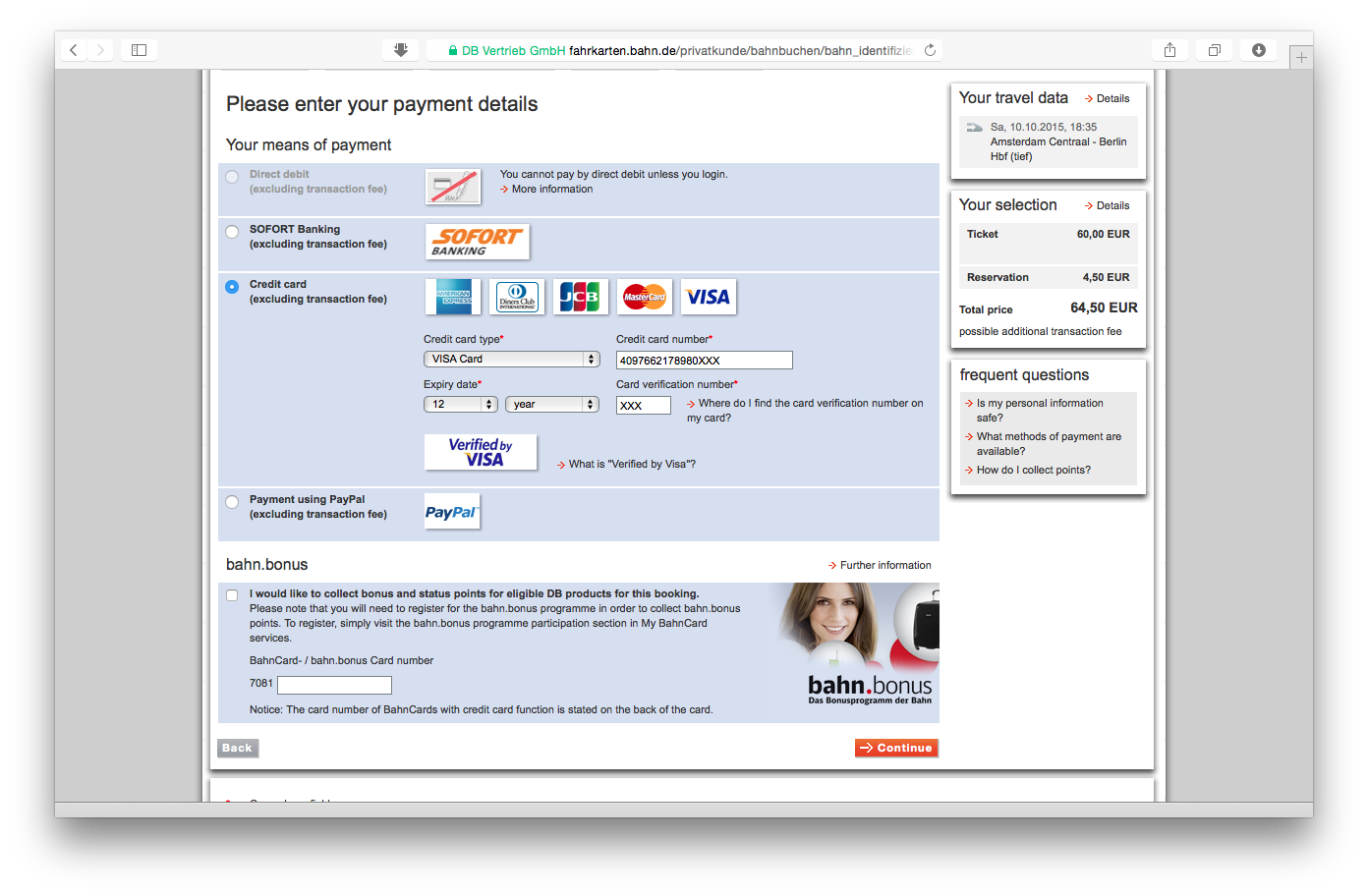Tampilan web bahn.de: pilihan metode pembayaran