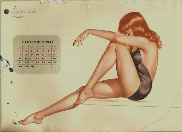 illustration vintage calendrier rousse pin up arlberto vargas maillot de bain noir