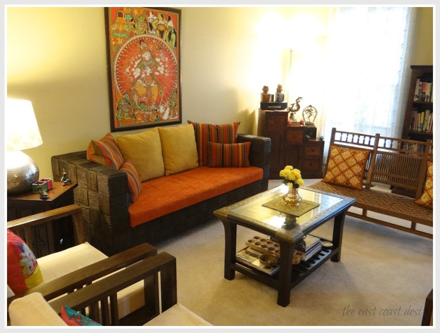 The east coast desi blend and create style perfected for Indian ethnic living room designs