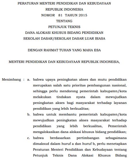 Juknis Dana Alokasi Khusus (DAK) Menurut Permendikbud No. 81/2015