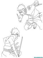 Mewarnai Gambar Naruto VS Sasuke Terbaru