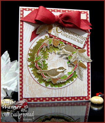 Stamps - Our Daily Bread Designs Chickadee Ornament, Wood Background, Apple Wreath, Sing for Joy, Christmas Flourished Verses