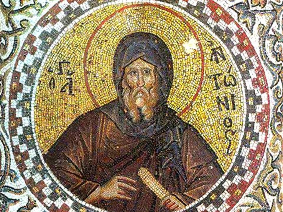 En la imagen, mosaico griego de San Antonio Abad.