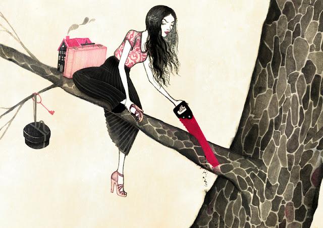 Pige der saboterer sig selv ved at save den gren over, sum hun sidder på