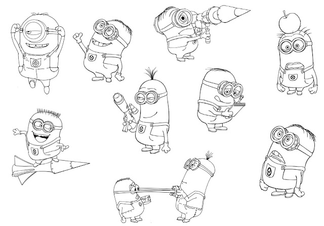 Minions in different positions.