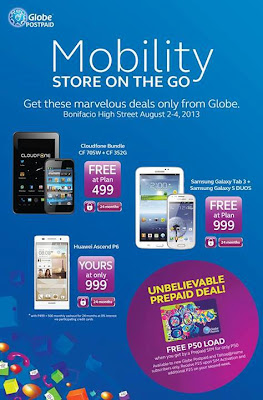 Globe Mobility:  Free Samsung Galaxy Tab 3 and S Duos at Plan 999