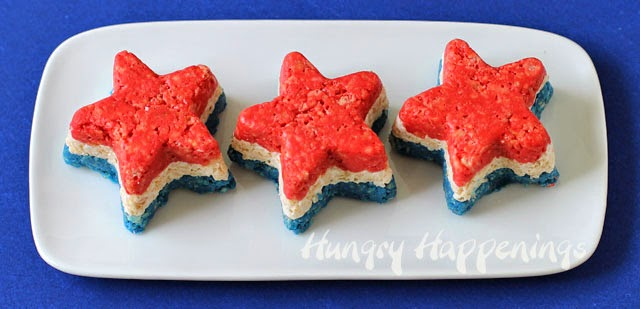Red, White and Blue Rice Krispie Treat Stars | HungryHappenings.com