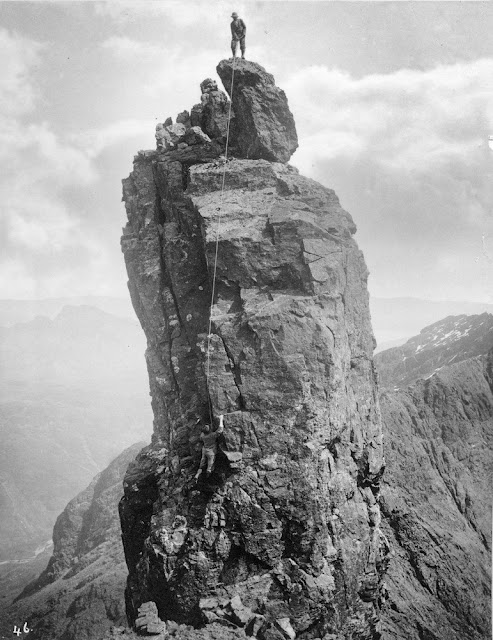 The Inaccessible Pinnacle, Sgurr Dearg, west side. Skye. Date of image: c. 1892.
