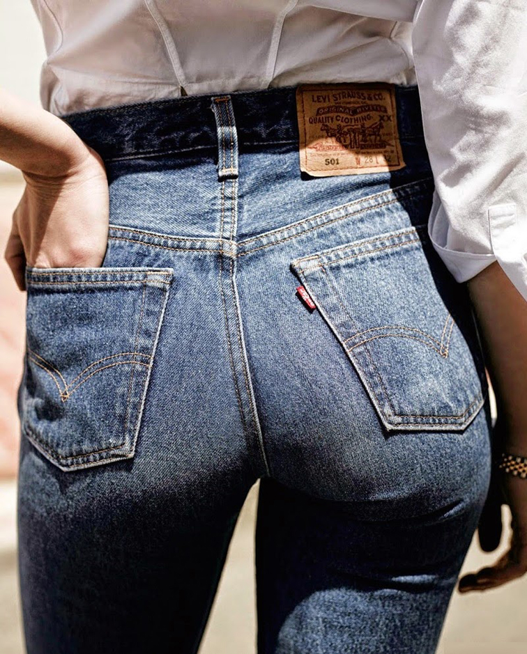 Vogue Netherlands vintage Levis denim mom jeans, backside, sexy bum, all American denim, classic, iconic