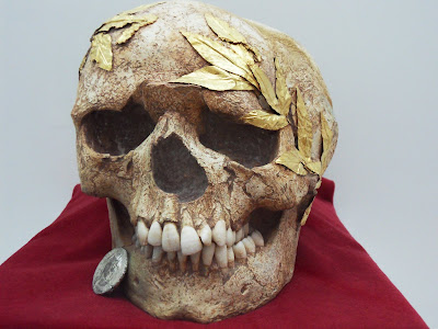2000 year old skull with golden wreath