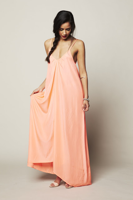 The Resort Maxi by Pink Stitch in peach at Fitzroy Boutique