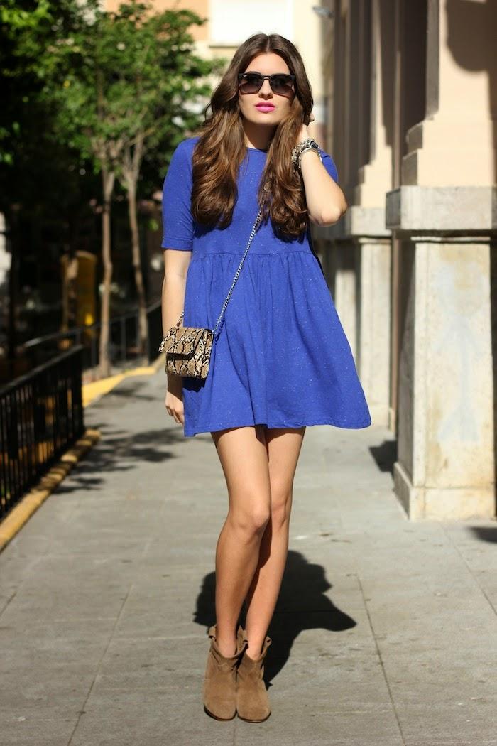 Asos_vestido_azul_dress_blue_amplio_ancho_corto_botines_pull&bear_bolso_mini_springfield_ss14_2014_rayban_lookbook_streetstyle_look_outfit_angicupcakes01