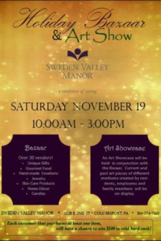 11-19 Holiday Bazaar & Art Show, Sweden Valley Manor