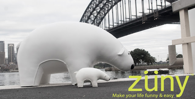 Giant Zuny Polar Bear under Sydney's Harbour Bridge