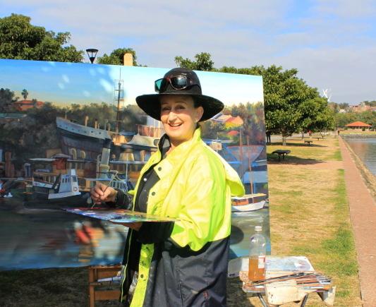 oil painting the Sydney Heritage Fleet from Blackwattle Bay en plein air by artist Jane Bennett