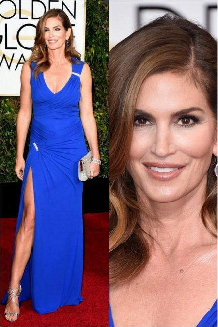 Cindy Crawford's look, in Versace dress at the Golden Globes 2015