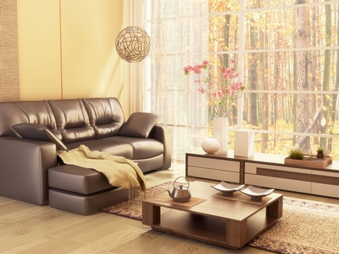 [An extremely cosy living room with an autumn forest view]