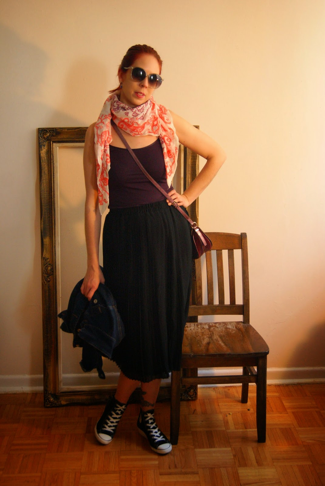 Endless Style Options!: Black Pleated Skirt, tank top, and scarf from H&M, Fashion Style, Melanie.Ps, Blogger, The Purple Scarf Toronto