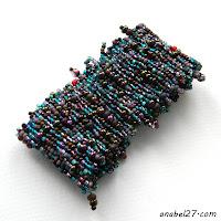 Бохо-браслет из бисера - сиреневый / темно-бирюзовый