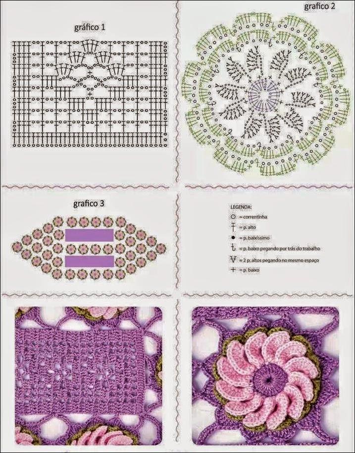 Crochet Baby Sweater Diagram : Camino de mesa con flores / patrones crochet Crochet y ...