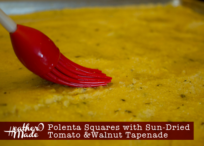 Polenta Squares with Sun-Dried Tomato and Walnut Tapenade. appetizer. recipe.