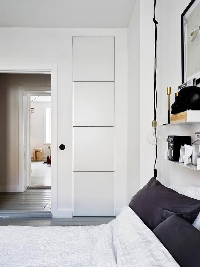 Lámpara bombilla habitación blanco y negro