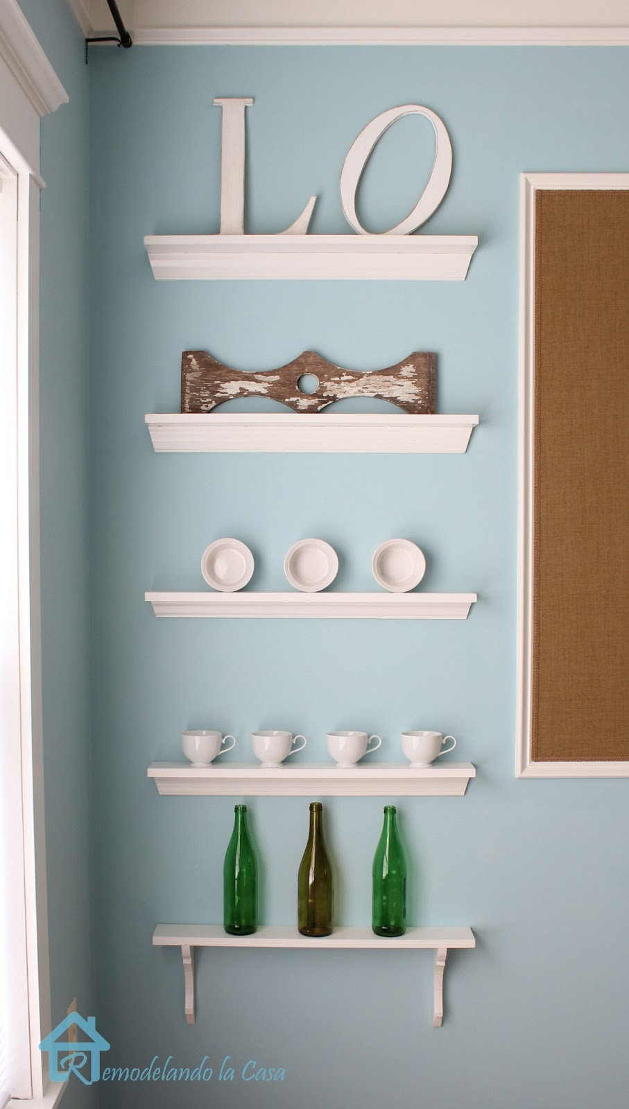 shallow open shelves in dining room pakky105