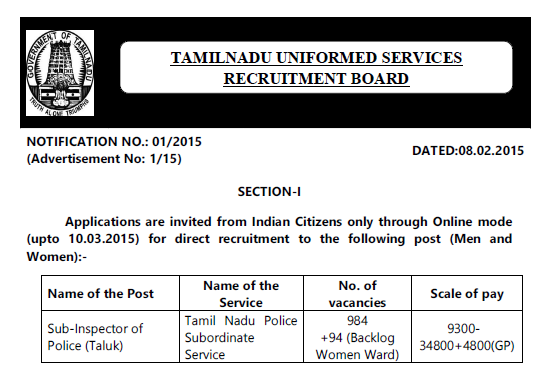 TNUSRB SI Recruitment 2015 - Tamil Nadu Police Jobs 1078 vacancies