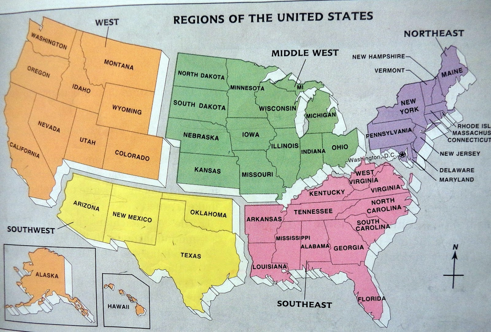Us Capitols Map Globalinterco - Us map states regions