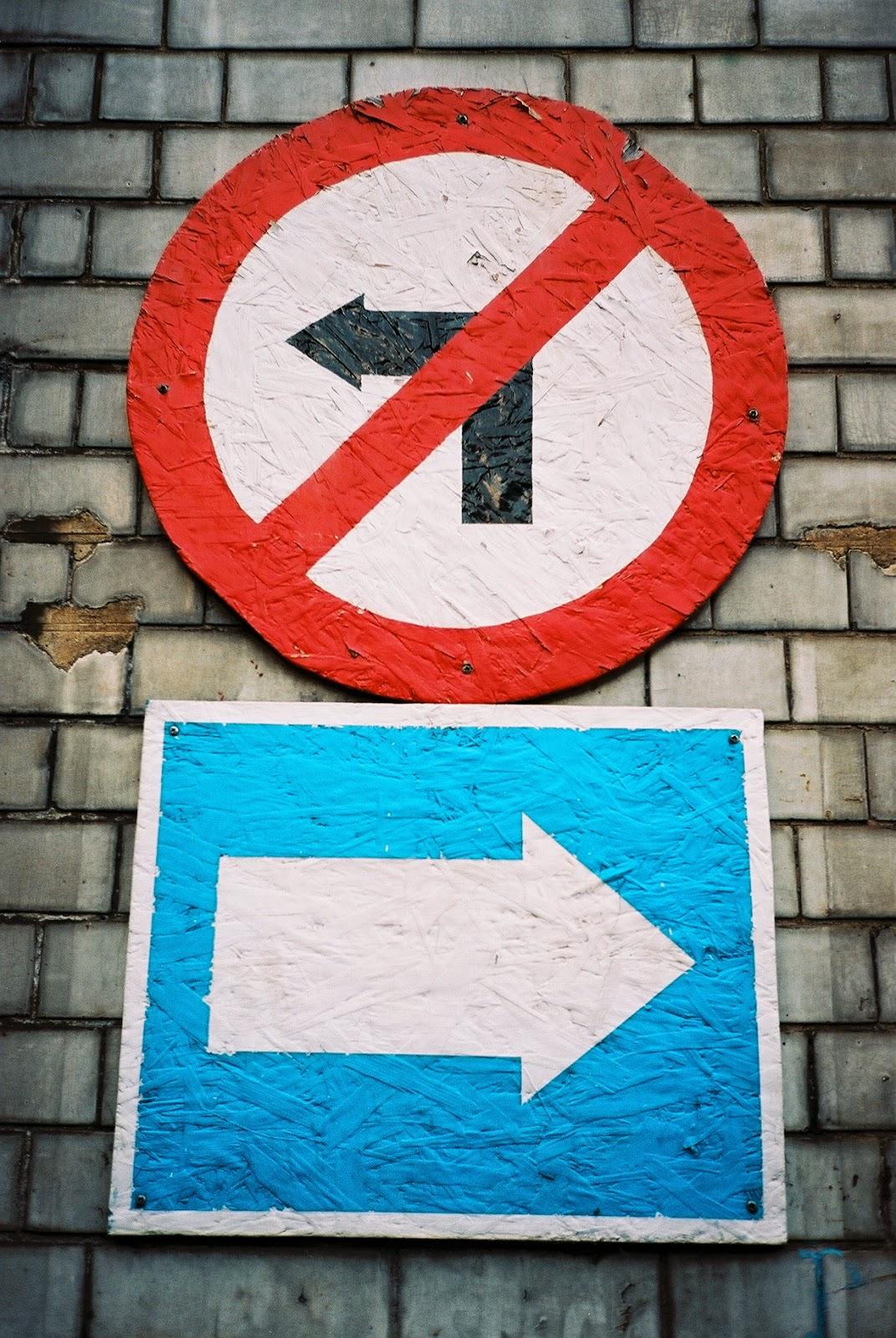 HIGHWAY CODE, ONE WAY STREET, NO LEFT TURN, HAND PAINTED SIGNS, FOLK ART, 2015 GENERAL ELECTION,  LAMBETH NORTH, LONDON © VAC 100 DAYS 4 MILLION CONVERSATIONS