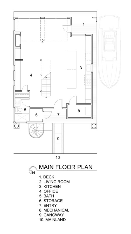 Main floor plan of the floating home