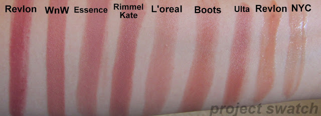 Revlon Rosy Nude, Wet n Wild 902C Bare It All, Essence Creamy Nude, Rimmel Kate 14, L'oreal Sheer Linen, Boots / Poppy King Confidence, Ulta American Girl, Revlon Nude Lustre, NYC Nude York City swatches