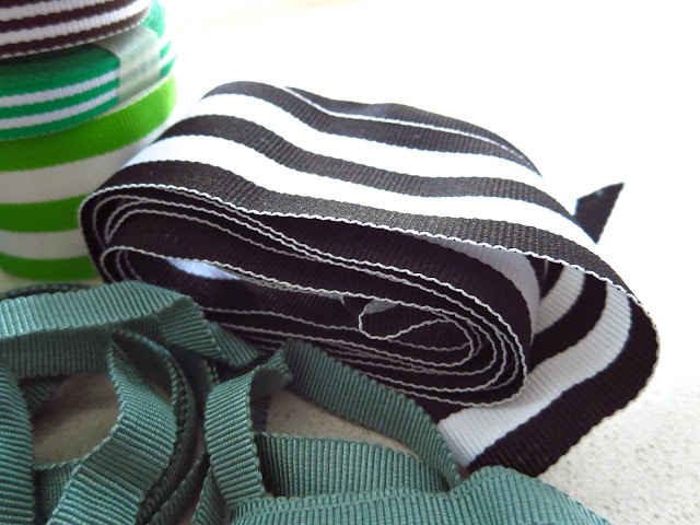 Black and white monarch stripe grosgrain ribbon