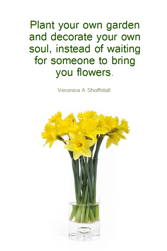 visual quote - image quotation for HAPPINESS - Plant your own garden and decorate your own soul, instead of waiting for someone to bring you flowers. - Veronica A Shoffstall