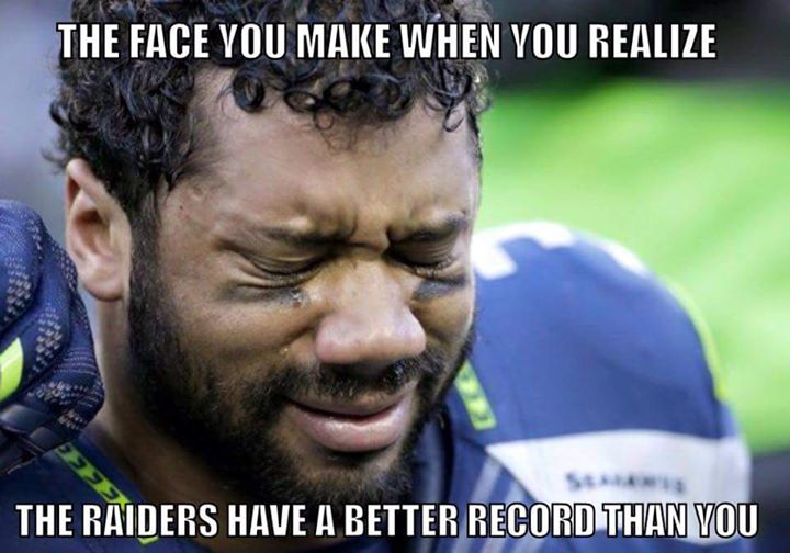 the face you make when you realize the raiders have a better record than you.- #RussellWilson, #Reaction, #reactionface, #seahawkslose, #seahawkshaters, #Crying,