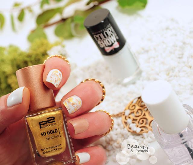 Nagellack Gold-weiß-Braun