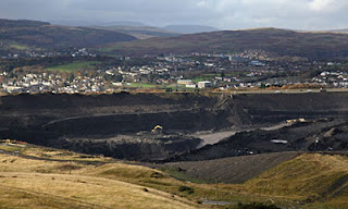 The Ffos-Y-Fran opencast coal mine in Merthyr Tydfil before Welsh rules banned coal quarries near housing. Photograph: Matt Cardy/Getty