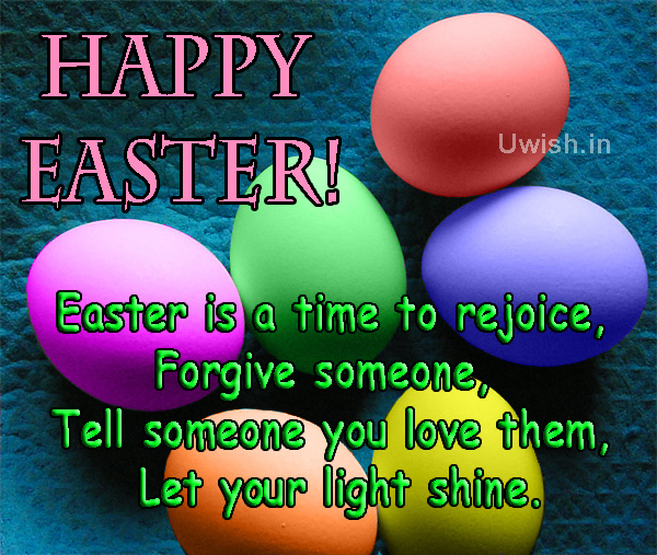 Happy Easter with egg shaped chocolates and Easter quotes e greeting card and wishes.