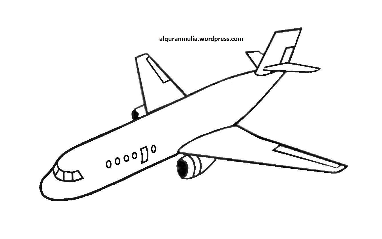 10 Mewarnai Gambar Pesawat Terbang Diwarnai Bergerak Lion Air Garuda