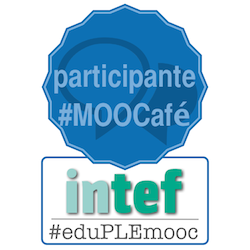 Mi emblema de participante en el MOOcafé