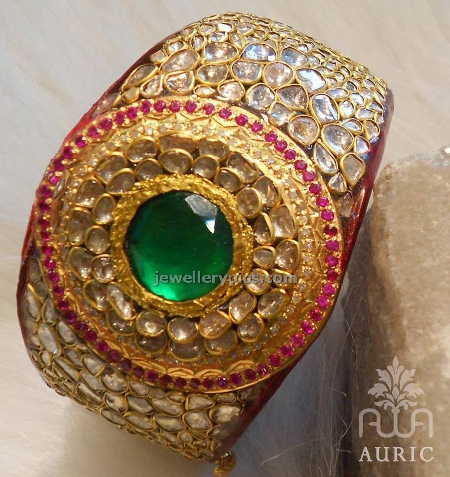 broad kundan royal bracelet by auric jewellers