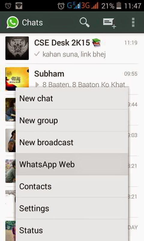 whatsapp web is available on desktop