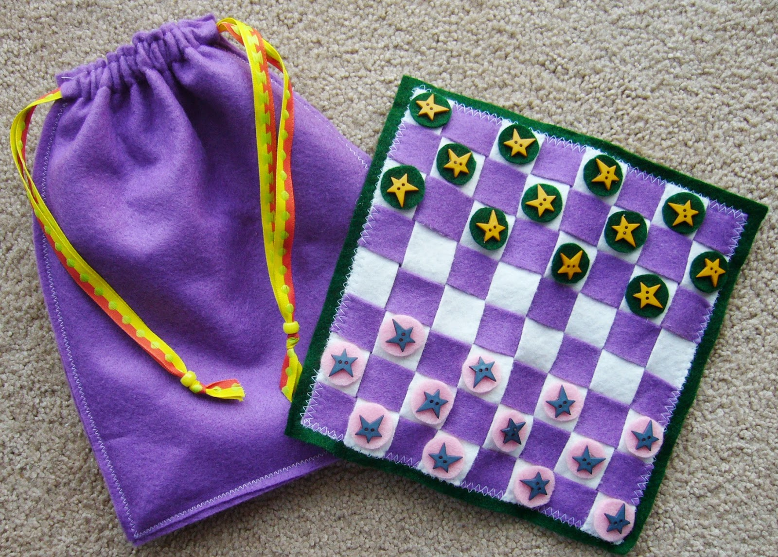 Simply Shoeboxes: DIY Travel Checkers Game with Drawstring Bag